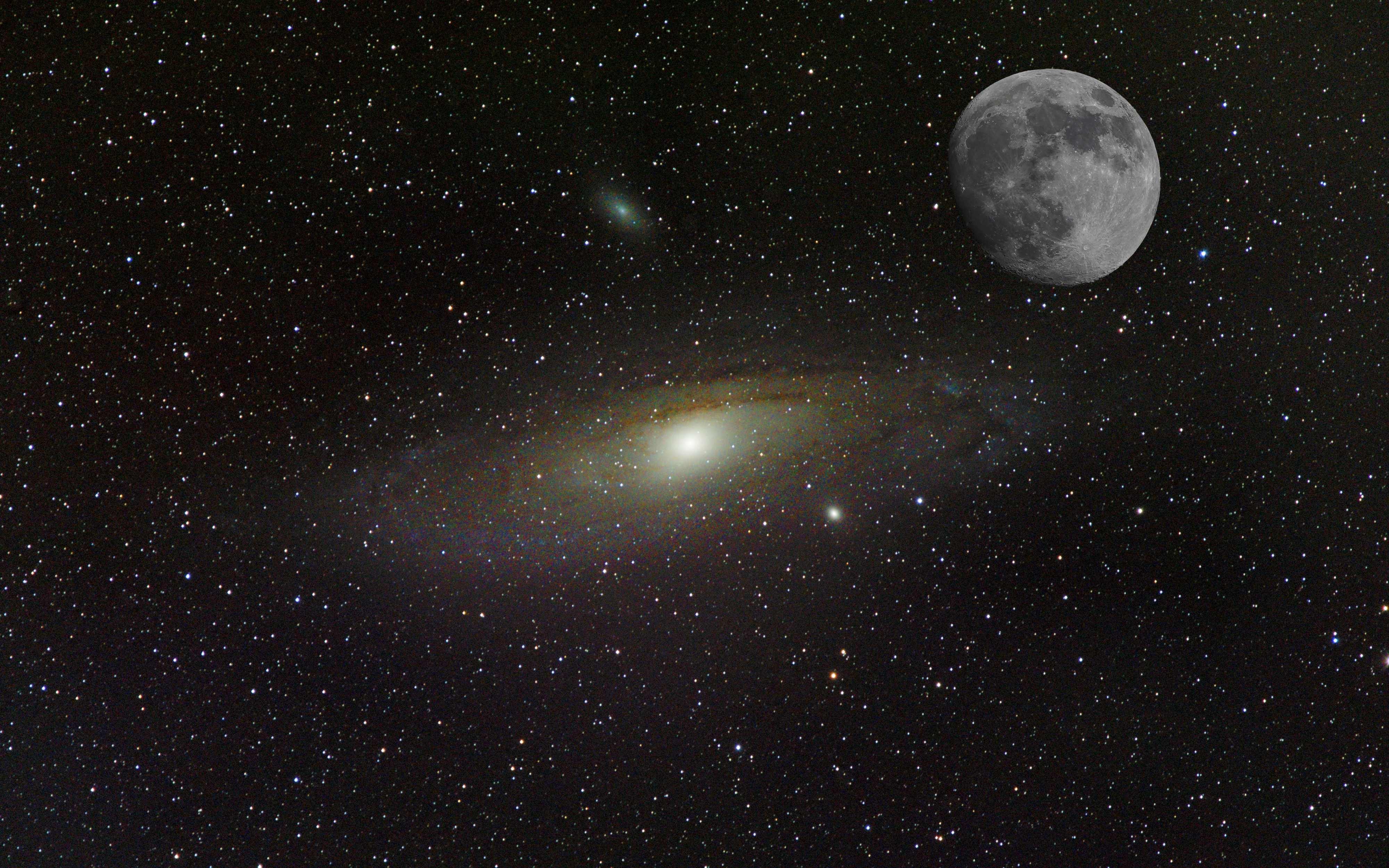 M31 Andromedagalaxie und Mond (Komposit)