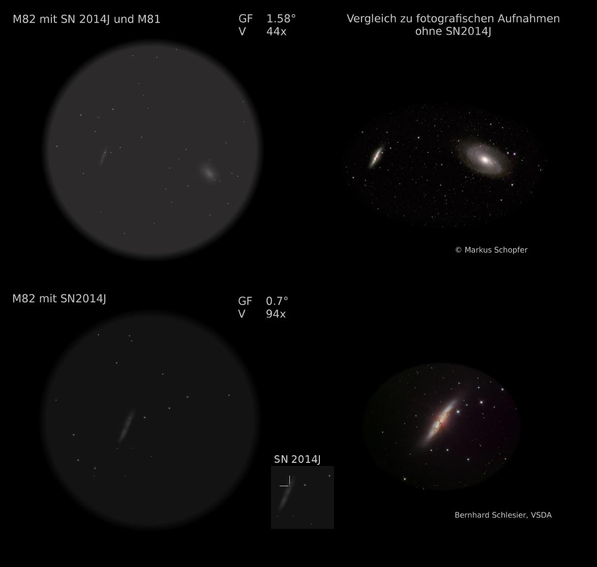 Supernova SN2014J (Vergleich Zeichung Bild)