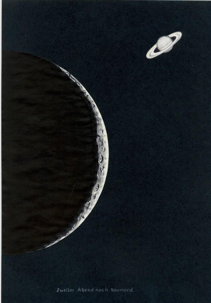 Mond mit Saturn (2. Abend nach Vollmond)
