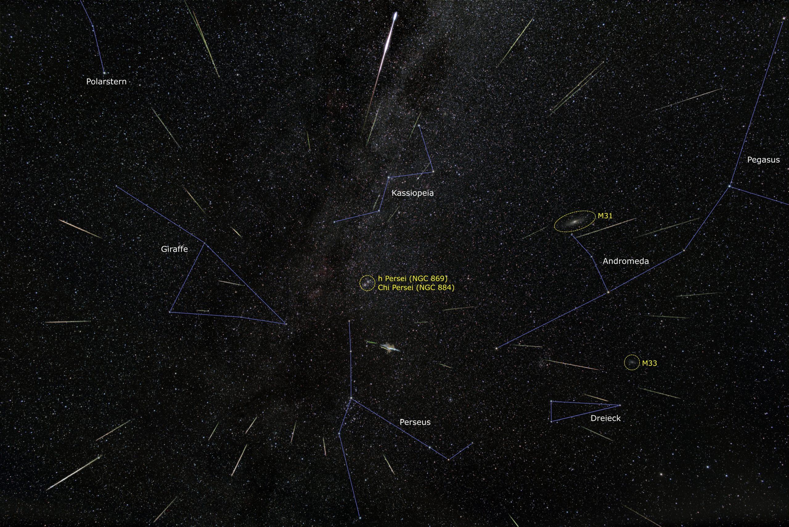 Perseiden 2020 mit Sternbildern